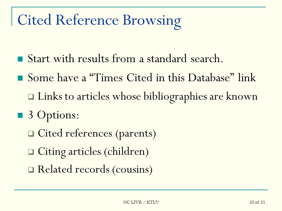 NC LIVE / KTLV 20 of 35 Cited Reference Browsing Start with results from a standard search.
