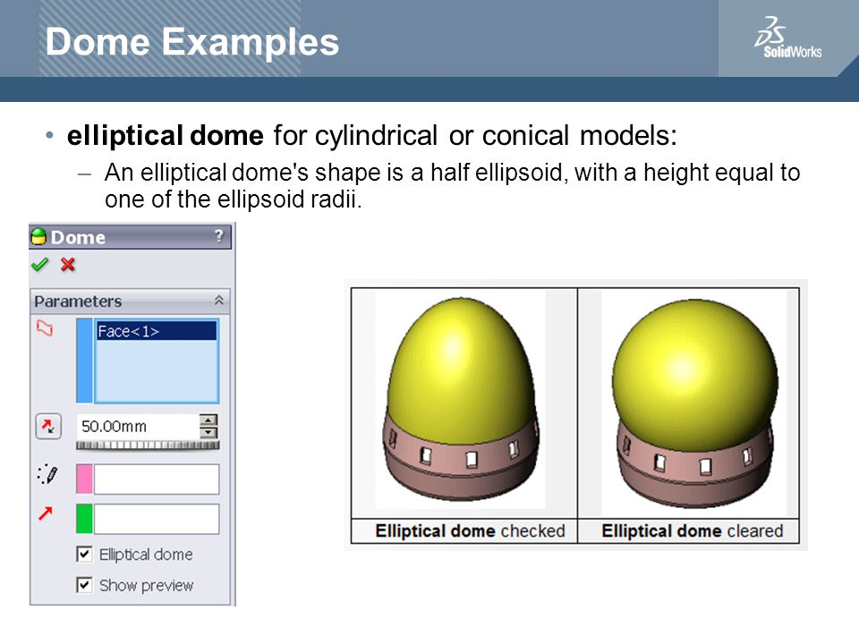 Dome Examples elliptical dome for cylindrical or conical models: –An elliptical dome s shape is a half ellipsoid, with a height equal to one of the ellipsoid radii.