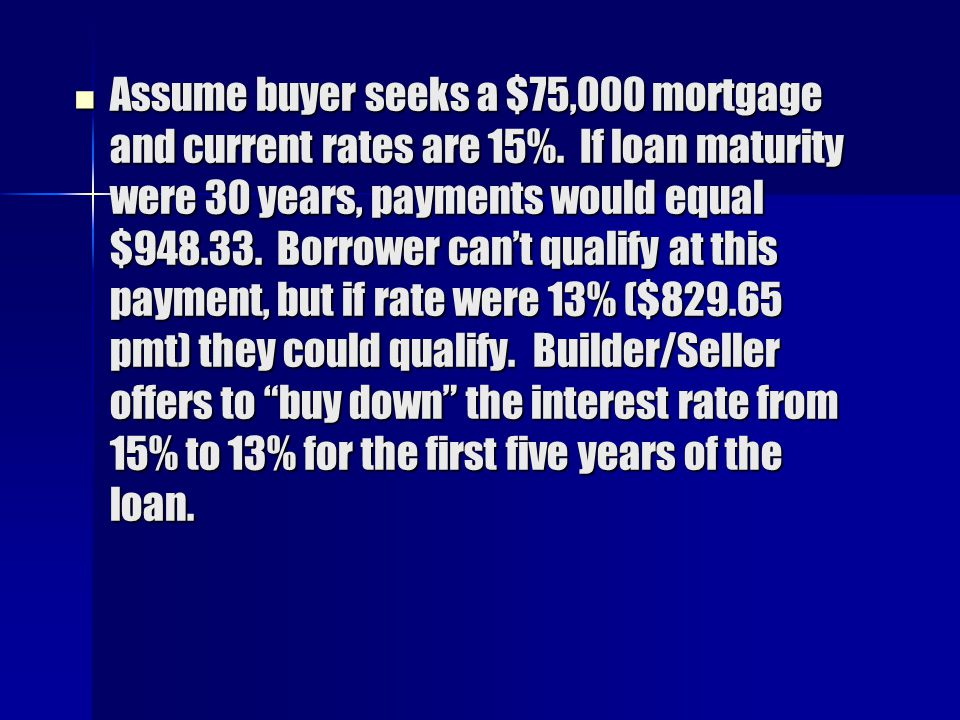 Assume buyer seeks a $75,000 mortgage and current rates are 15%.
