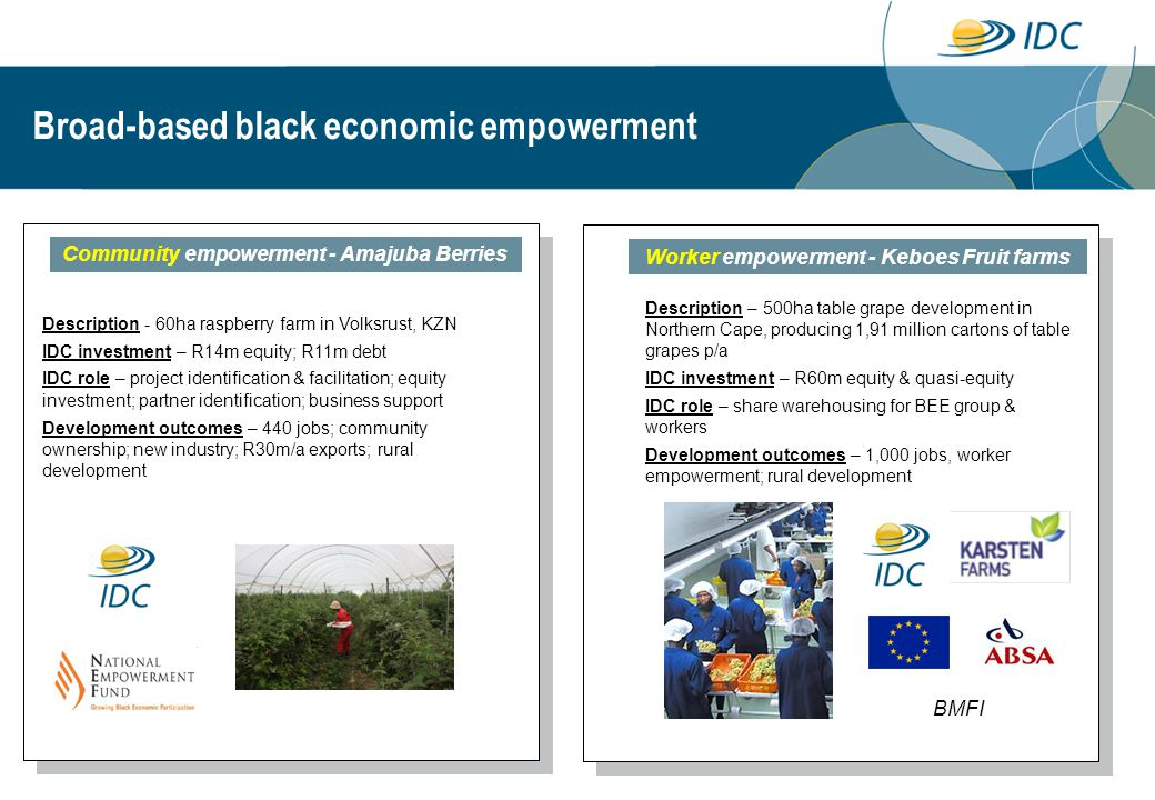 Broad-based black economic empowerment Community empowerment - Amajuba Berries Description - 60ha raspberry farm in Volksrust, KZN IDC investment – R14m equity; R11m debt IDC role – project identification & facilitation; equity investment; partner identification; business support Development outcomes – 440 jobs; community ownership; new industry; R30m/a exports; rural development Worker empowerment - Keboes Fruit farms Description – 500ha table grape development in Northern Cape, producing 1,91 million cartons of table grapes p/a IDC investment – R60m equity & quasi-equity IDC role – share warehousing for BEE group & workers Development outcomes – 1,000 jobs, worker empowerment; rural development BMFI