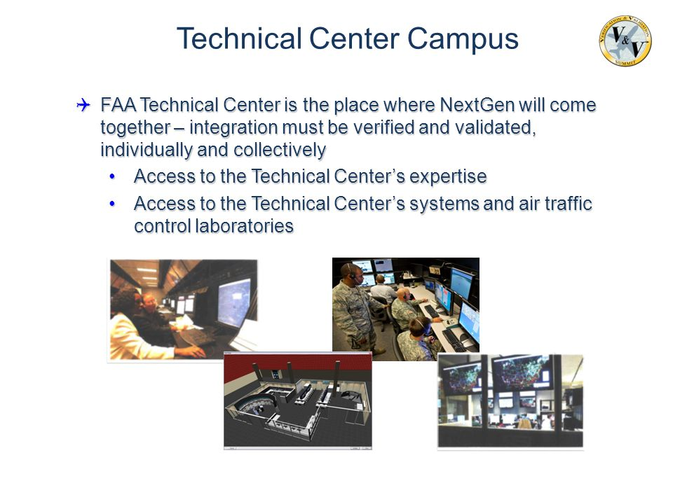  FAA Technical Center is the place where NextGen will come together – integration must be verified and validated, individually and collectively Acces