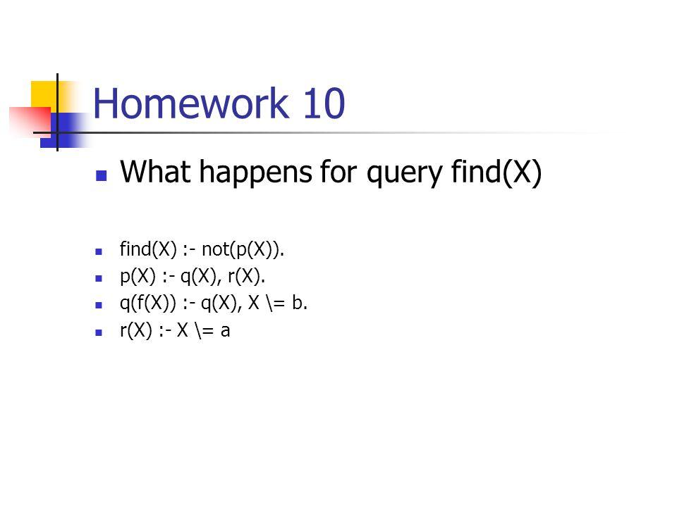 Homework 10 Removing duplicates in a list remdup(L, L1) :- remdup(L, [], L1). remdup([], L, L). remdup([X|Xs], SoFar, List) :- member(X, SoFar), !, re