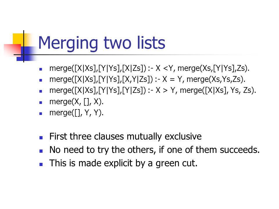 Green Cuts, Red Cuts Green Cut a cut the prunes part of a Prolog search tree that cannot possibly reach a solution used mainly for efficiency sake. Re