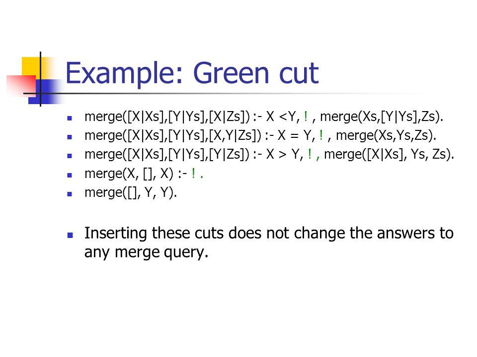 Merging two lists merge([X|Xs],[Y|Ys],[X|Zs]) :- X <Y, merge(Xs,[Y|Ys],Zs). merge([X|Xs],[Y|Ys],[X,Y|Zs]) :- X = Y, merge(Xs,Ys,Zs). merge([X|Xs],[Y|Y