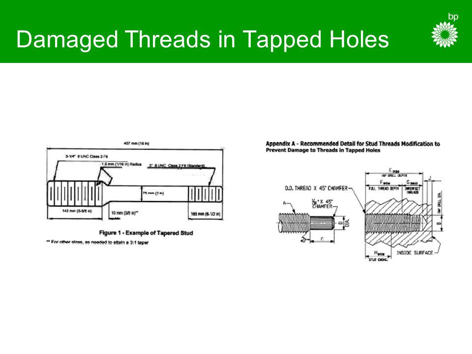 Damaged Threads in Tapped Holes