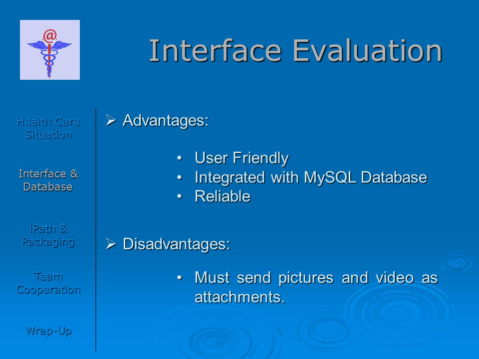 Interface Evaluation Health Care Situation Interface & Database iPath & Packaging Team Cooperation Wrap-Up  Advantages:  Disadvantages: User Friendl
