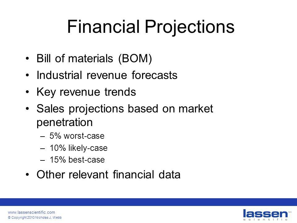 www.lassenscientific.com © Copyright 2010 Nicholas J. Webb Financial Projections Bill of materials (BOM) Industrial revenue forecasts Key revenue tren
