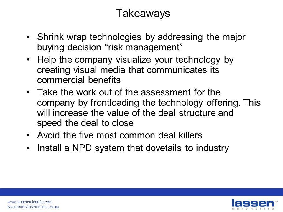 "www.lassenscientific.com © Copyright 2010 Nicholas J. Webb Takeaways Shrink wrap technologies by addressing the major buying decision ""risk management"