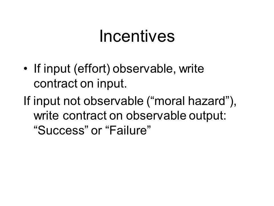 Incentives 60% success vs.80% success -- i.e.
