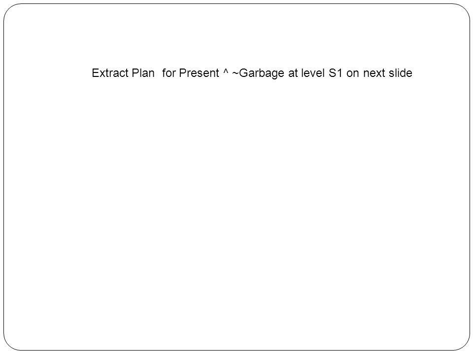 Extract Plan for Present ^ ~Garbage at level S1 on next slide