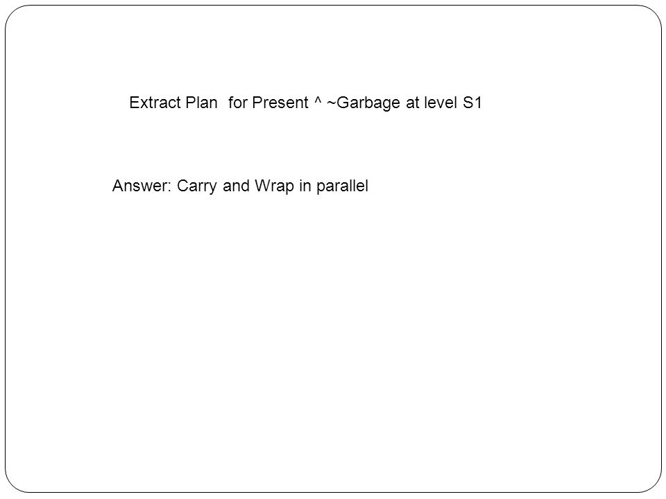 Extract Plan for Present ^ ~Garbage at level S1 Answer: Carry and Wrap in parallel