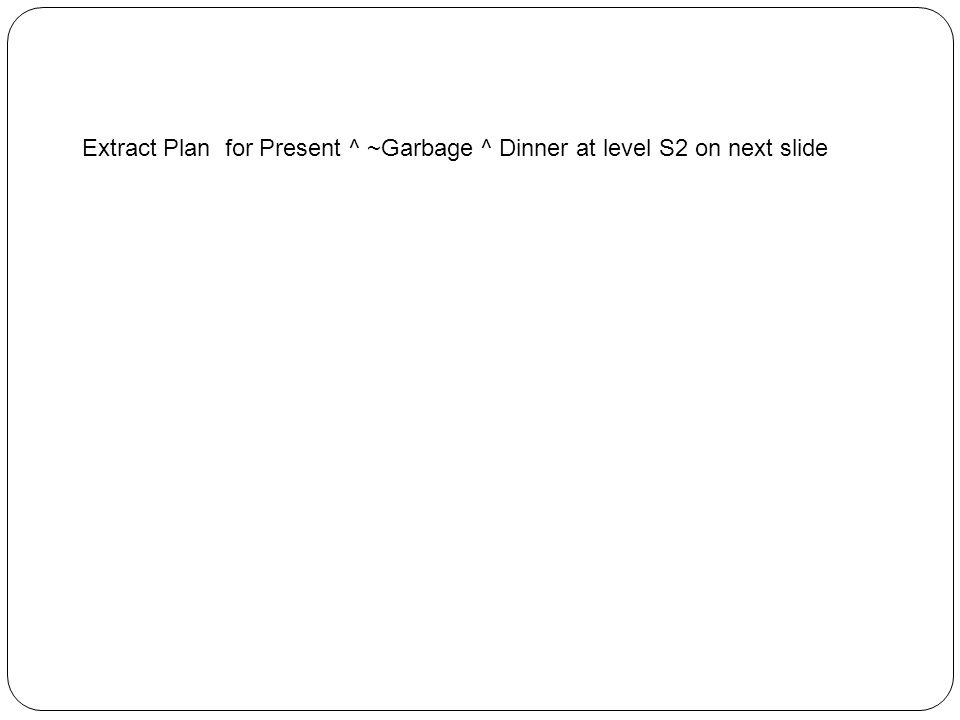 Extract Plan for Present ^ ~Garbage ^ Dinner at level S2 on next slide