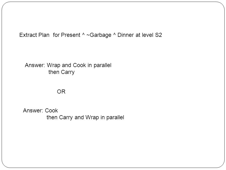 Extract Plan for Present ^ ~Garbage ^ Dinner at level S2 Answer: Wrap and Cook in parallel then Carry OR Answer: Cook then Carry and Wrap in parallel