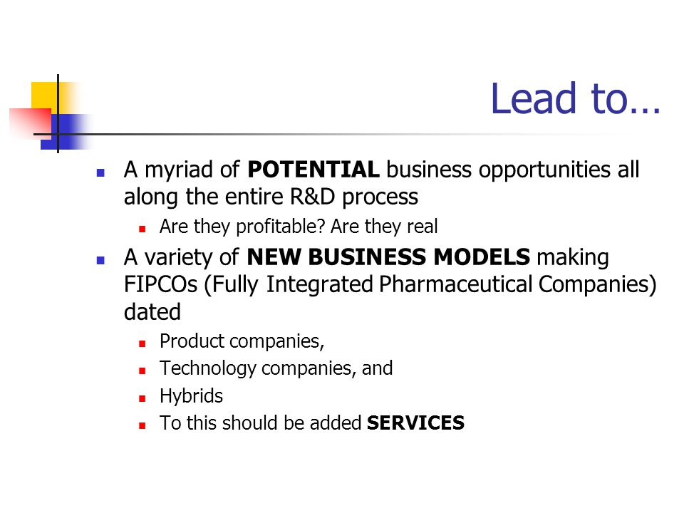 Lead to… A myriad of POTENTIAL business opportunities all along the entire R&D process Are they profitable.
