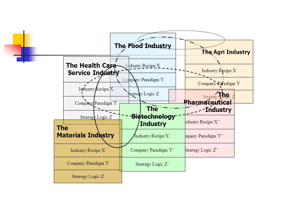 The Food Industry Industry Recipe X Company Paradigm Y Strategy Logic Z The Health Care Service Industry Industry Recipe X Company Paradigm Y Strategy Logic Z The Agri Industry Industry Recipe X Company Paradigm Y Strategy Logic Z The Pharmaceutical Industry Industry Recipe X'' Company Paradigm Y'' Strategy Logic Z'' The Biotechnology Industry Industry Recipe X' Company Paradigm Y' Strategy Logic Z' The Materials Industry Industry Recipe X Company Paradigm Y Strategy Logic Z