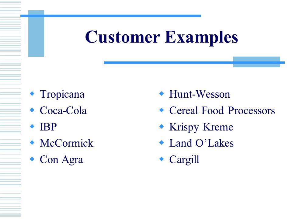 Customer Examples  Tropicana  Coca-Cola  IBP  McCormick  Con Agra  Hunt-Wesson  Cereal Food Processors  Krispy Kreme  Land O'Lakes  Cargill