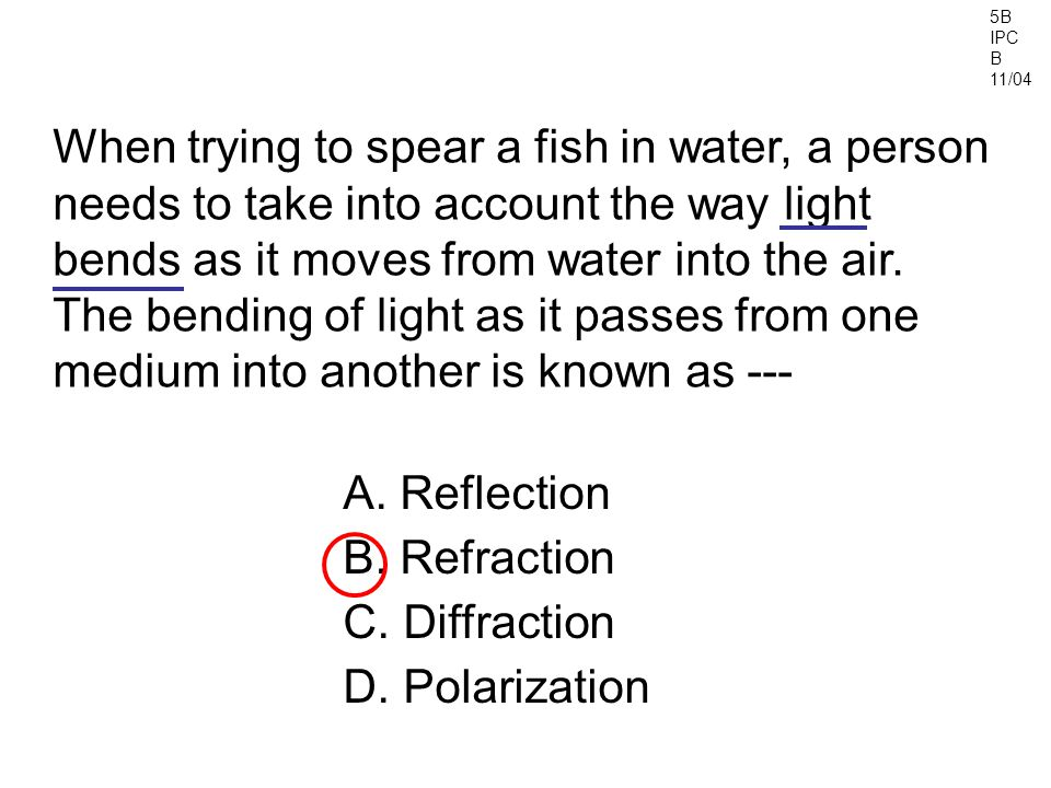 5B IPC B 11/04 A.Reflection B. Refraction C. Diffraction D.