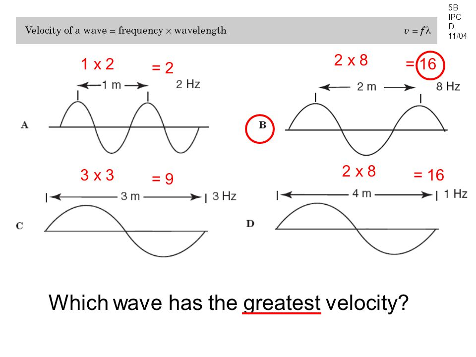 5B IPC D 11/04 Which wave has the greatest velocity? 1 x 2 = 2 2 x 8 = 16 2 x 8 = 163 x 3 = 9