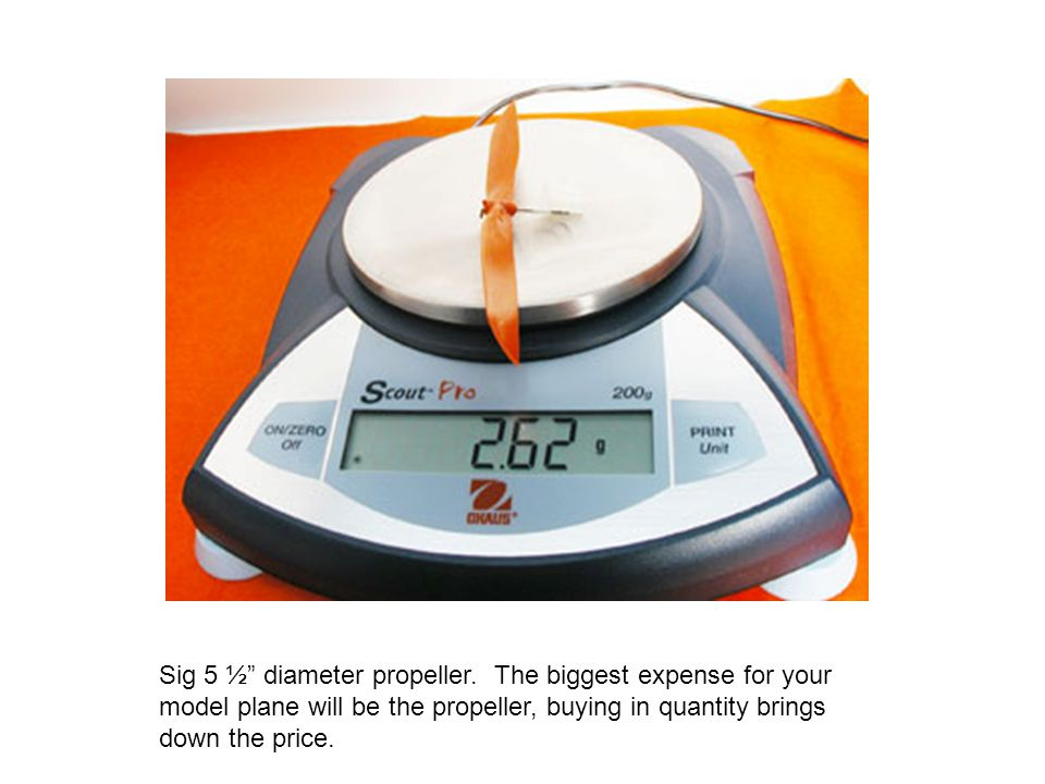 """Sig 5 ½"""" diameter propeller. The biggest expense for your model plane will be the propeller, buying in quantity brings down the price."""