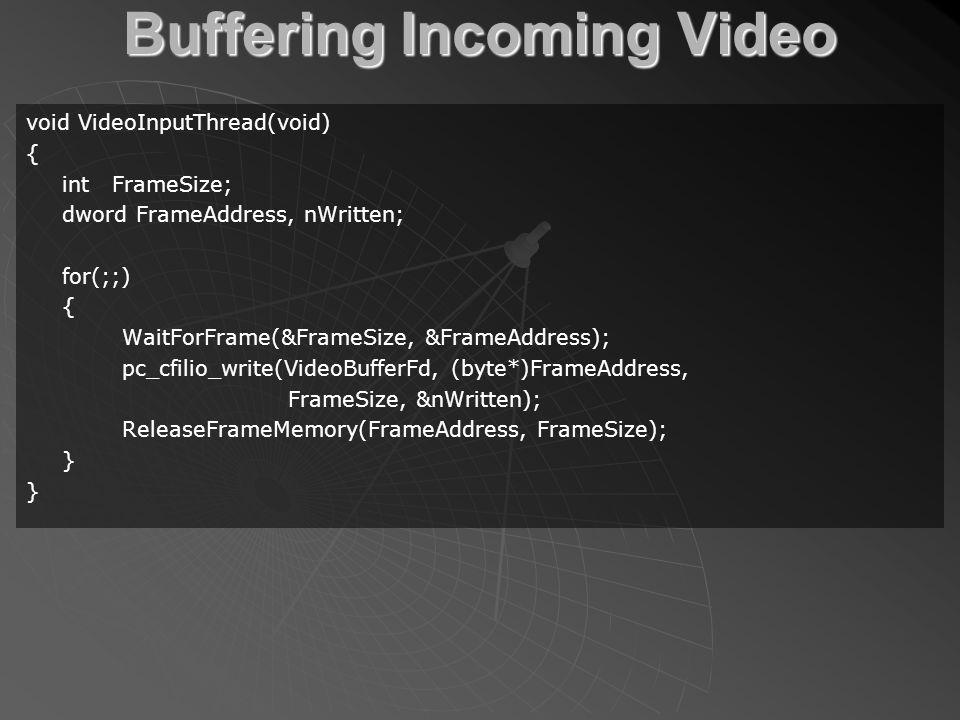 Buffering Incoming Video void VideoInputThread(void) { int FrameSize; dword FrameAddress, nWritten; for(;;) { WaitForFrame(&FrameSize, &FrameAddress); pc_cfilio_write(VideoBufferFd, (byte*)FrameAddress, FrameSize, &nWritten); ReleaseFrameMemory(FrameAddress, FrameSize); }