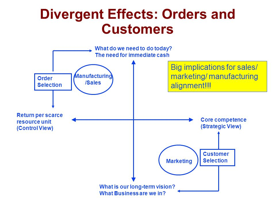 Divergent Effects: Orders and Customers What do we need to do today.