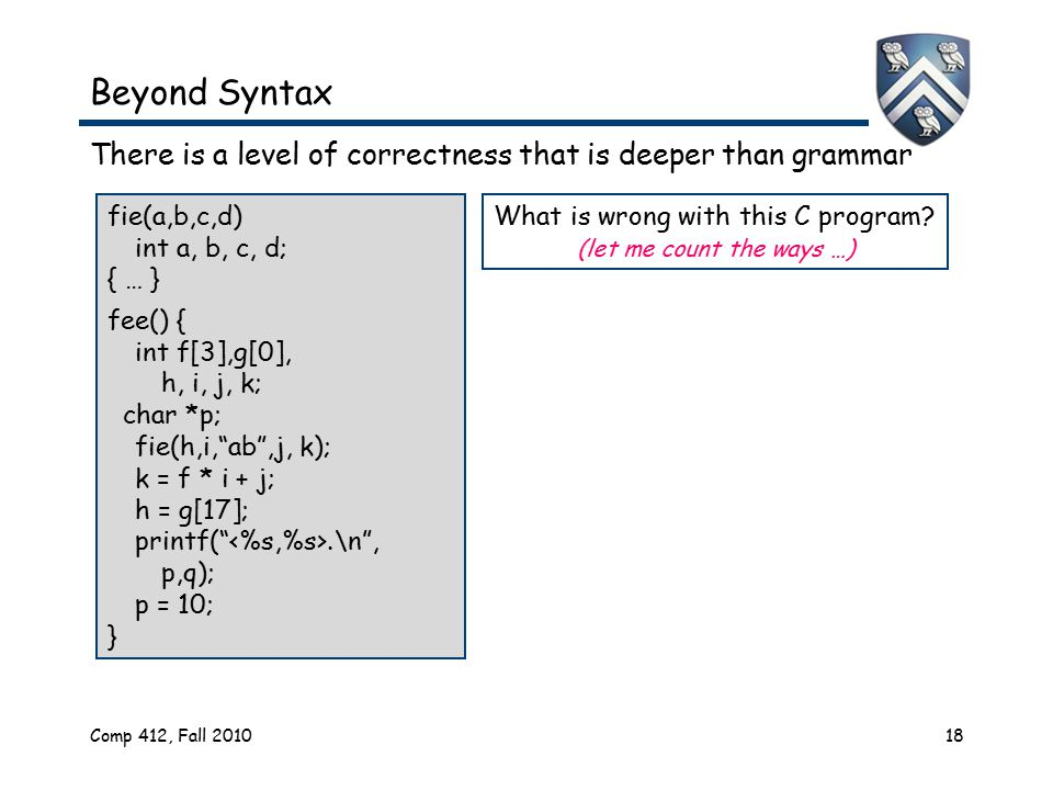Comp 412, Fall 201018 Beyond Syntax There is a level of correctness that is deeper than grammar fie(a,b,c,d) int a, b, c, d; { … } fee() { int f[3],g[0], h, i, j, k; char *p; fie(h,i, ab ,j, k); k = f * i + j; h = g[17]; printf( .\n , p,q); p = 10; } What is wrong with this C program.