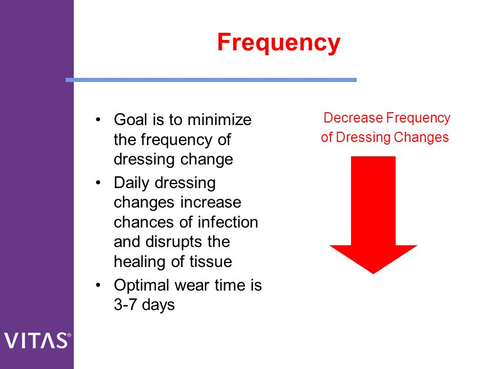 Frequency Goal is to minimize the frequency of dressing change Daily dressing changes increase chances of infection and disrupts the healing of tissue