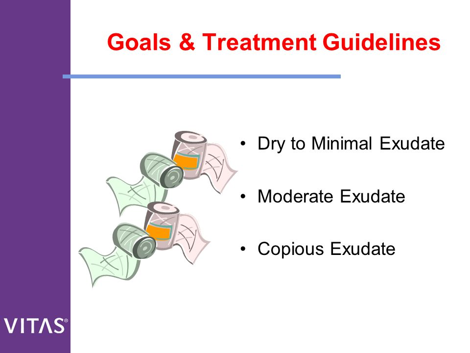 Goals & Treatment Guidelines Dry to Minimal Exudate Moderate Exudate Copious Exudate