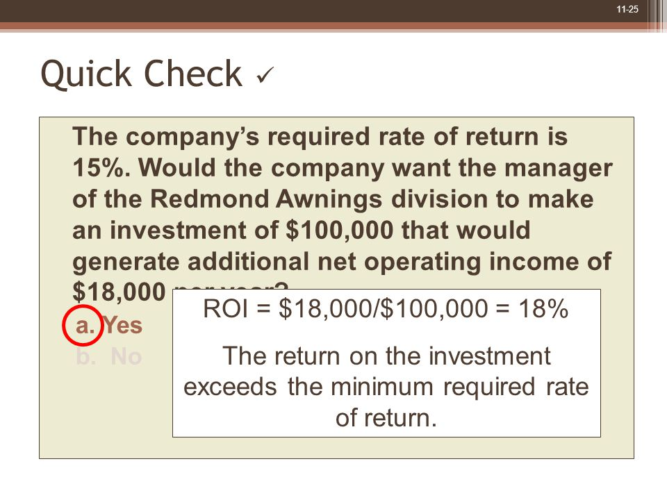 11-25 Quick Check The company's required rate of return is 15%.