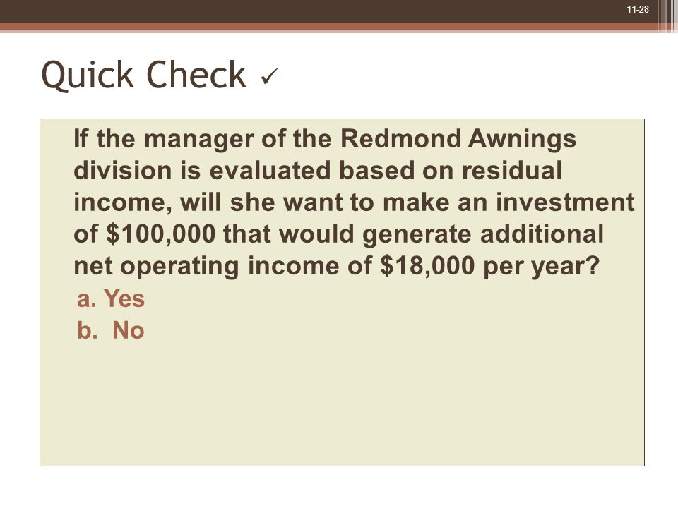 11-28 Quick Check If the manager of the Redmond Awnings division is evaluated based on residual income, will she want to make an investment of $100,000 that would generate additional net operating income of $18,000 per year.