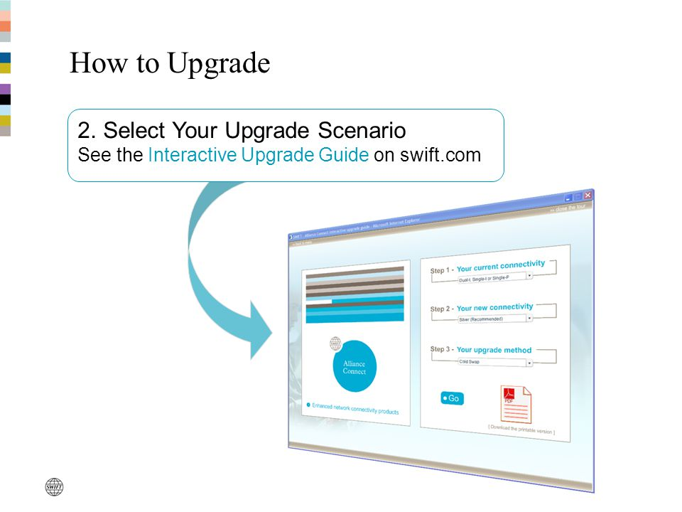 How to Upgrade 2. Select Your Upgrade Scenario See the Interactive Upgrade Guide on swift.com