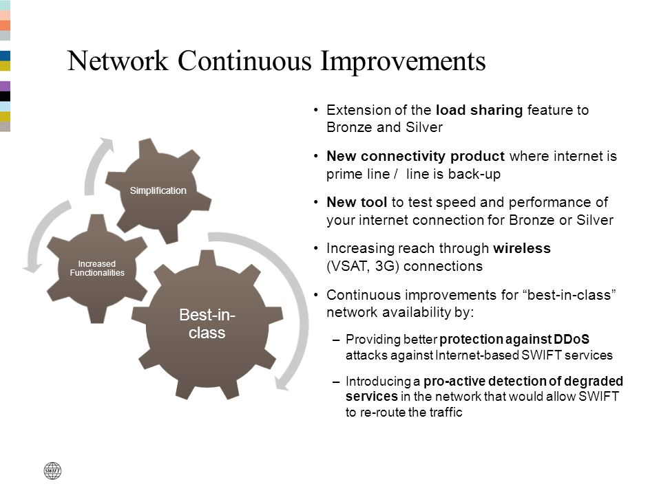 Network Continuous Improvements Best-in- class Increased Functionalities Simplification Extension of the load sharing feature to Bronze and Silver New connectivity product where internet is prime line / line is back-up New tool to test speed and performance of your internet connection for Bronze or Silver Increasing reach through wireless (VSAT, 3G) connections Continuous improvements for best-in-class network availability by: –Providing better protection against DDoS attacks against Internet-based SWIFT services –Introducing a pro-active detection of degraded services in the network that would allow SWIFT to re-route the traffic