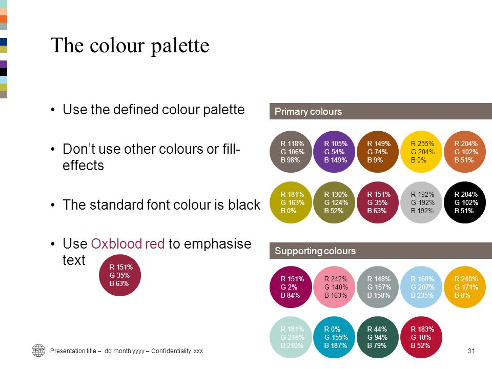 Presentation title – dd month yyyy – Confidentiality: xxx31 The colour palette Use the defined colour palette Don't use other colours or fill- effects The standard font colour is black Use Oxblood red to emphasise text Primary colours Supporting colours R 151% G 2% B 84% R 242% G 140% B 163% R 148% G 157% B 158% R 160% G 207% B 235% R 240% G 171% B 0% R 181% G 218% B 210% R 0% G 155% B 187% R 44% G 94% B 79% R 183% G 18% B 52% R 118% G 106% B 98% R 105% G 54% B 149% R 149% G 74% B 9% R 255% G 204% B 0% R 204% G 102% B 51% R 181% G 163% B 0% R 130% G 124% B 52% R 151% G 35% B 63% R 192% G 192% B 192% R 204% G 102% B 51% R 151% G 35% B 63%