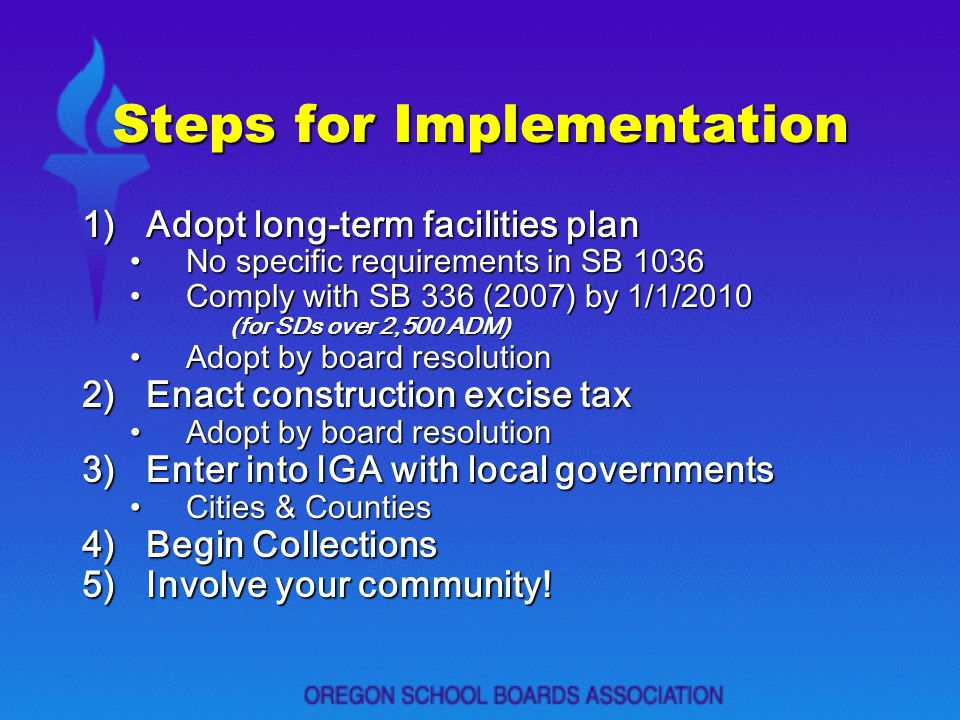 Steps for Implementation 1)Adopt long-term facilities plan No specific requirements in SB 1036No specific requirements in SB 1036 Comply with SB 336 (