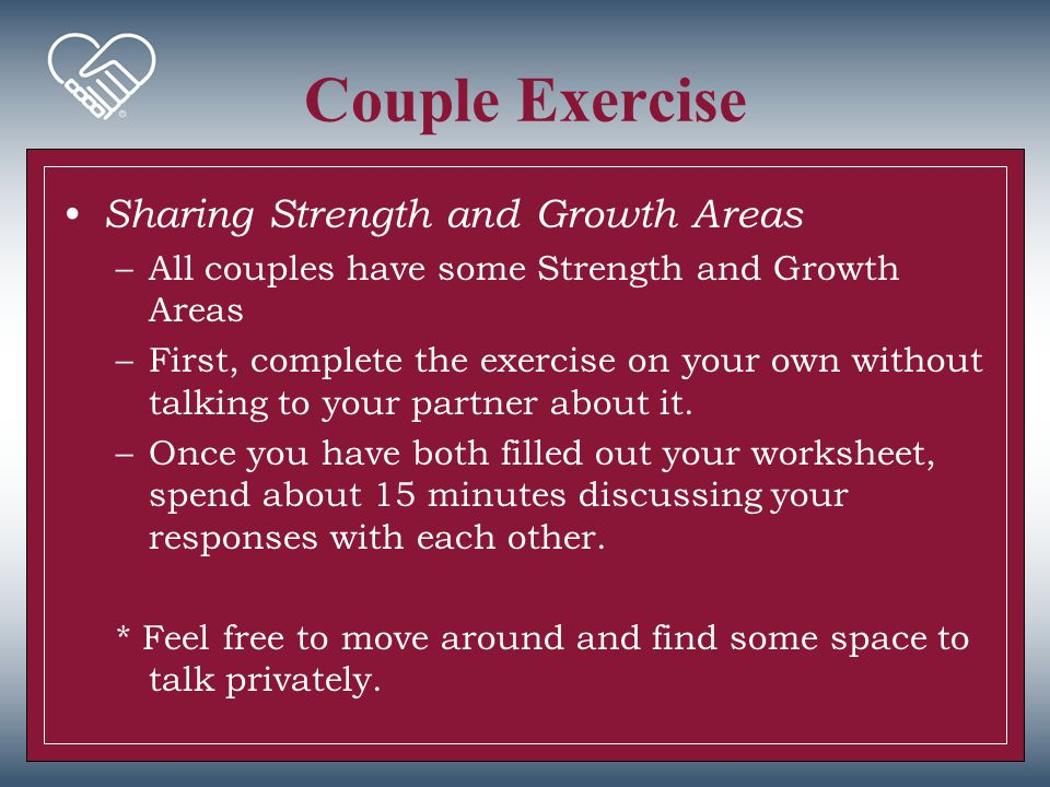 Couple Exercise First, review the Relationship Dynamics and Communication results from your Couple's Report Breakdown of category items: –Couple Agreement –Disagreement Item –Indecision Item –Special Focus