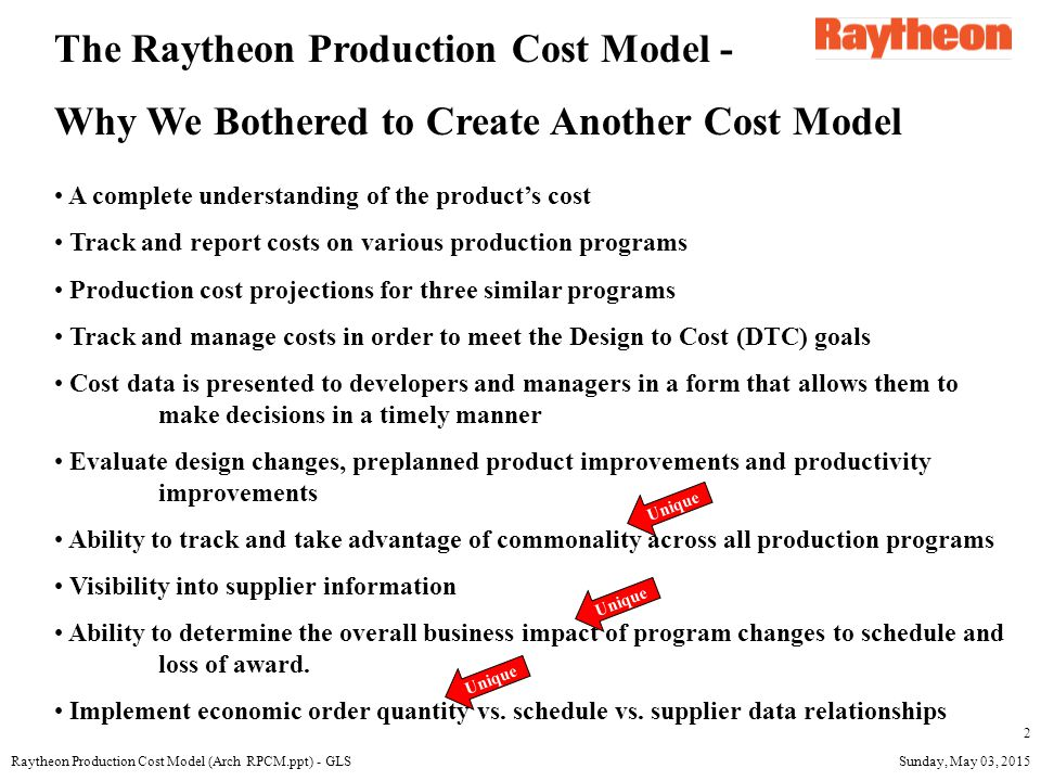 Sunday, May 03, 2015Raytheon Production Cost Model (Arch RPCM.ppt) - GLS 3 Common/Similar Components Circuit Cards IMU Warheads/Propulsion etc.