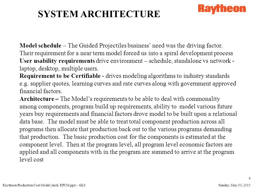 Sunday, May 03, 2015Raytheon Production Cost Model (Arch RPCM.ppt) - GLS 7 Programs With Common Components Processor CCA FPA and CCAs Battery