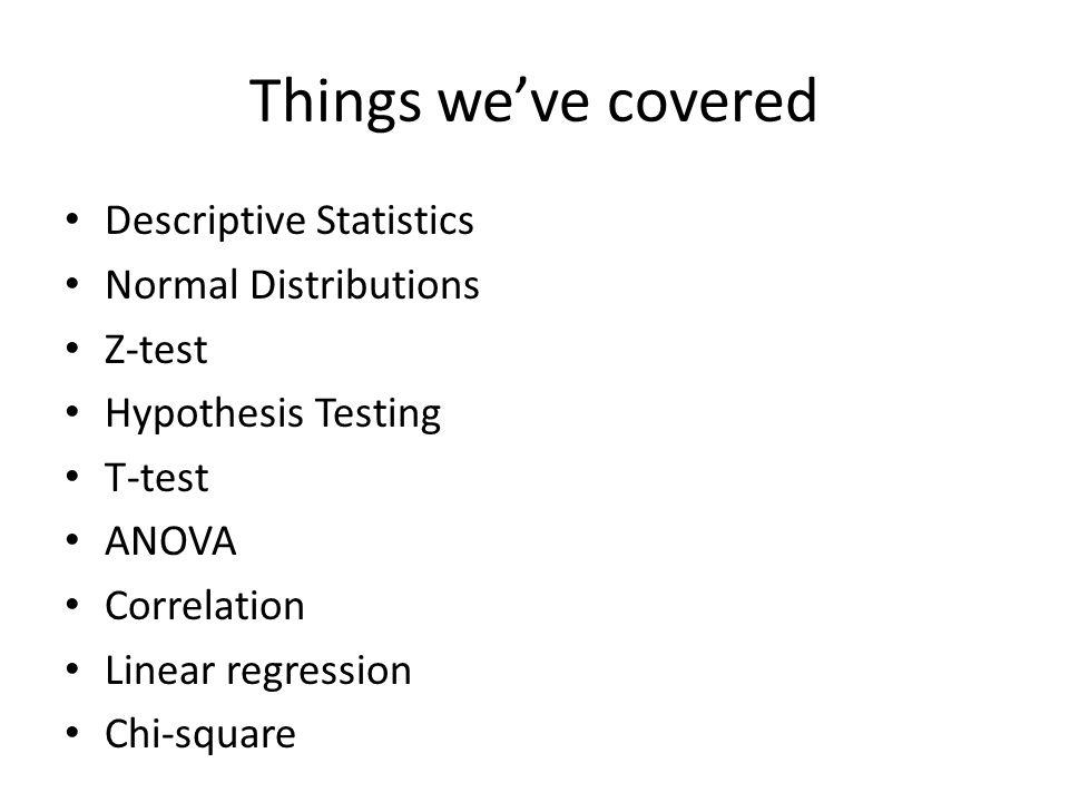 Descriptive Statistics Central Tendency – Mean – Median – Mode Variance – Range – Standard deviation – Variance