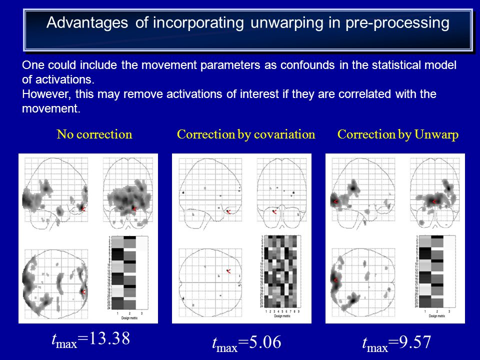 Advantages of incorporating unwarping in pre-processing One could include the movement parameters as confounds in the statistical model of activations.