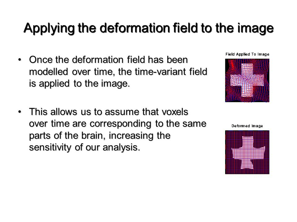 Applying the deformation field to the image Once the deformation field has been modelled over time, the time-variant field is applied to the image.Once the deformation field has been modelled over time, the time-variant field is applied to the image.