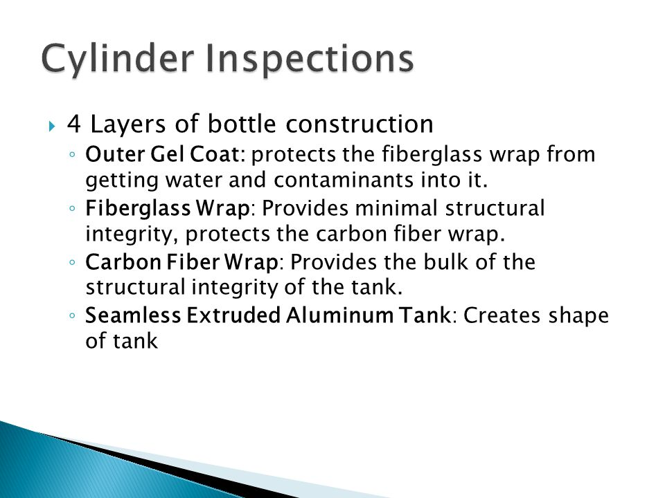  4 Layers of bottle construction ◦ Outer Gel Coat: protects the fiberglass wrap from getting water and contaminants into it.