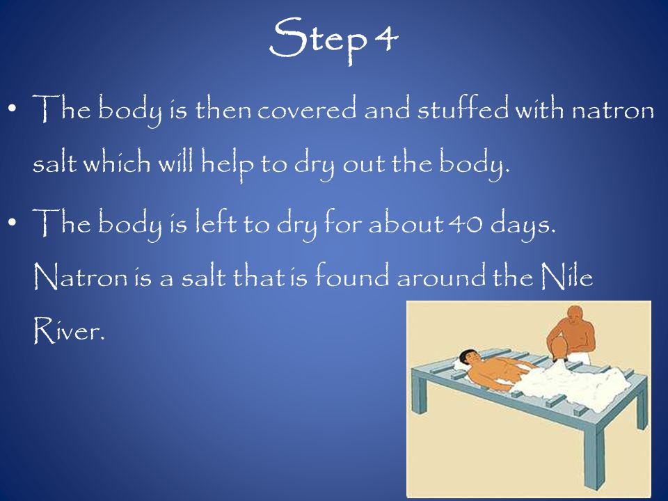 Step 4 The body is then covered and stuffed with natron salt which will help to dry out the body.