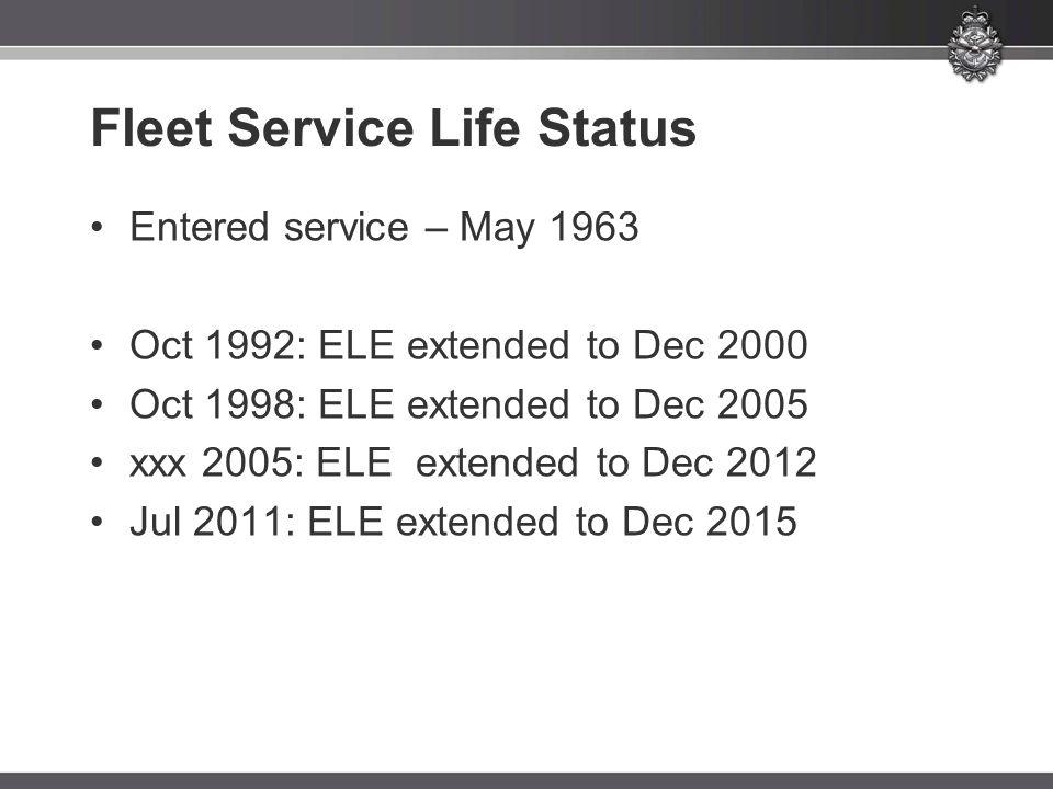Fleet Service Life Status Entered service – May 1963 Oct 1992: ELE extended to Dec 2000 Oct 1998: ELE extended to Dec 2005 xxx 2005: ELE extended to Dec 2012 Jul 2011: ELE extended to Dec 2015