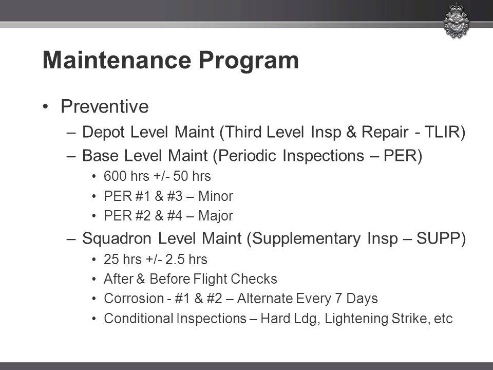 Maintenance Program Preventive –Depot Level Maint (Third Level Insp & Repair - TLIR) –Base Level Maint (Periodic Inspections – PER) 600 hrs +/- 50 hrs PER #1 & #3 – Minor PER #2 & #4 – Major –Squadron Level Maint (Supplementary Insp – SUPP) 25 hrs +/- 2.5 hrs After & Before Flight Checks Corrosion - #1 & #2 – Alternate Every 7 Days Conditional Inspections – Hard Ldg, Lightening Strike, etc