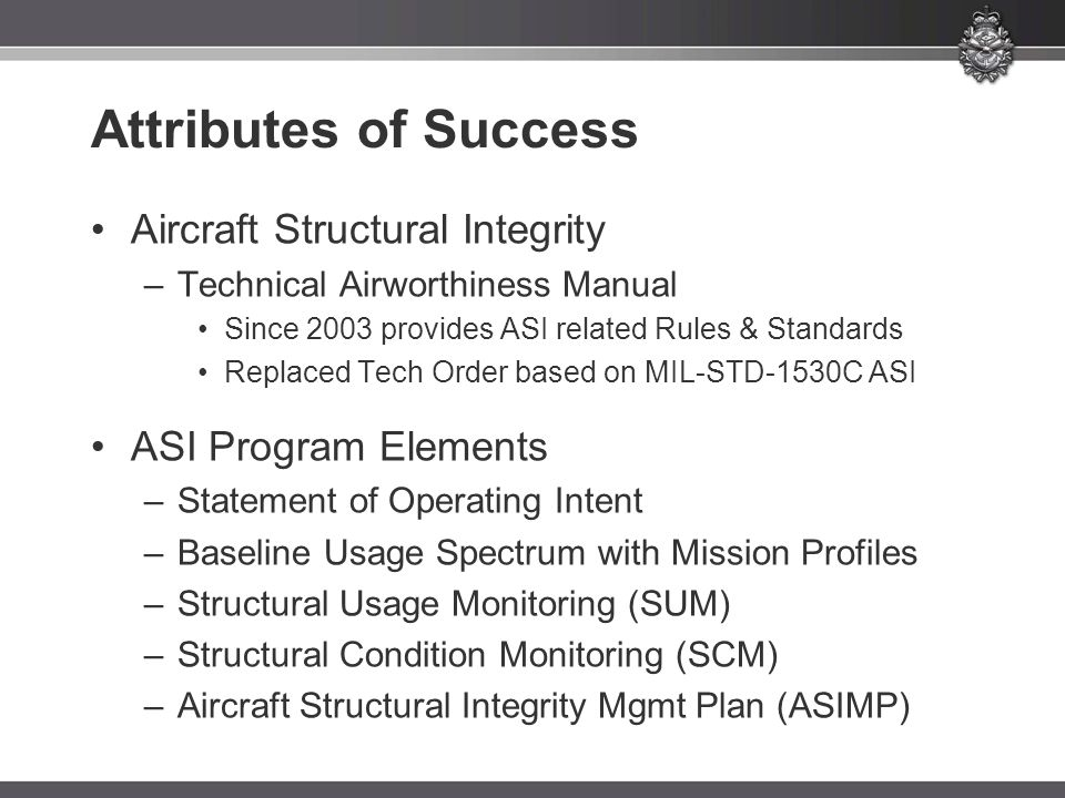 Attributes of Success Aircraft Structural Integrity –Technical Airworthiness Manual Since 2003 provides ASI related Rules & Standards Replaced Tech Order based on MIL-STD-1530C ASI ASI Program Elements –Statement of Operating Intent –Baseline Usage Spectrum with Mission Profiles –Structural Usage Monitoring (SUM) –Structural Condition Monitoring (SCM) –Aircraft Structural Integrity Mgmt Plan (ASIMP)