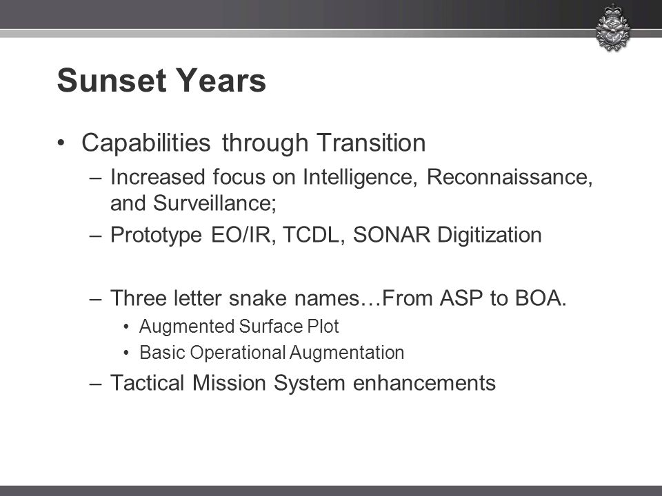 Sunset Years Capabilities through Transition –Increased focus on Intelligence, Reconnaissance, and Surveillance; –Prototype EO/IR, TCDL, SONAR Digitiz