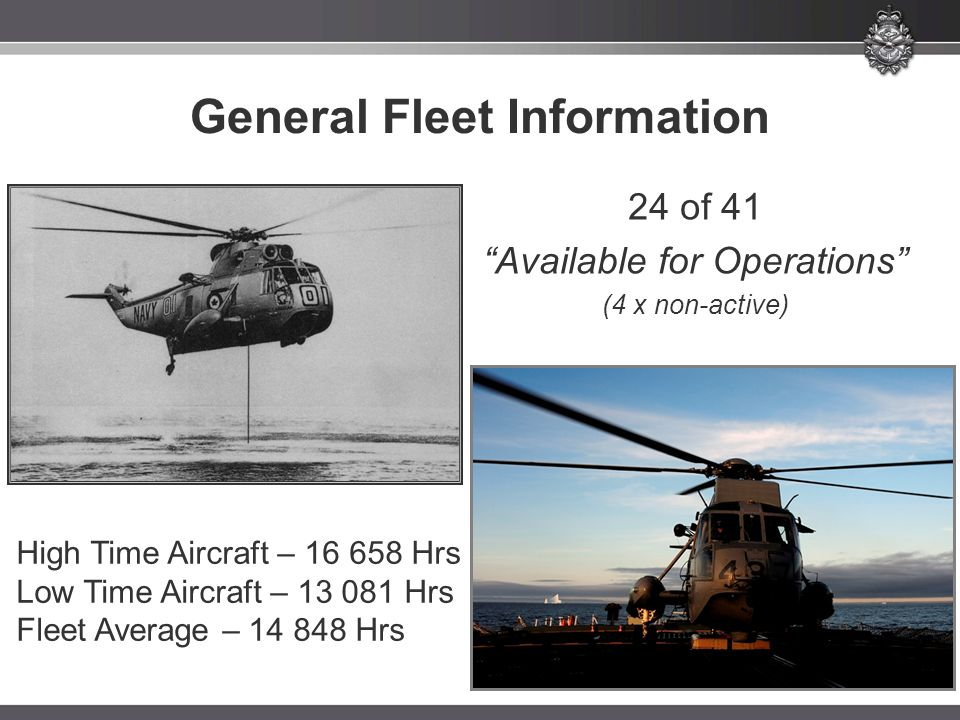 "General Fleet Information High Time Aircraft – 16 658 Hrs Low Time Aircraft – 13 081 Hrs Fleet Average – 14 848 Hrs 24 of 41 ""Available for Operations"