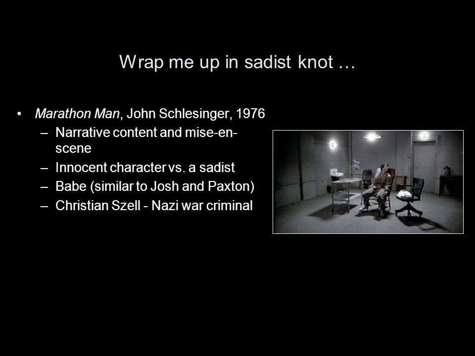 Wrap me up in sadist knot … Marathon Man, John Schlesinger, 1976 –Narrative content and mise-en- scene –Innocent character vs.