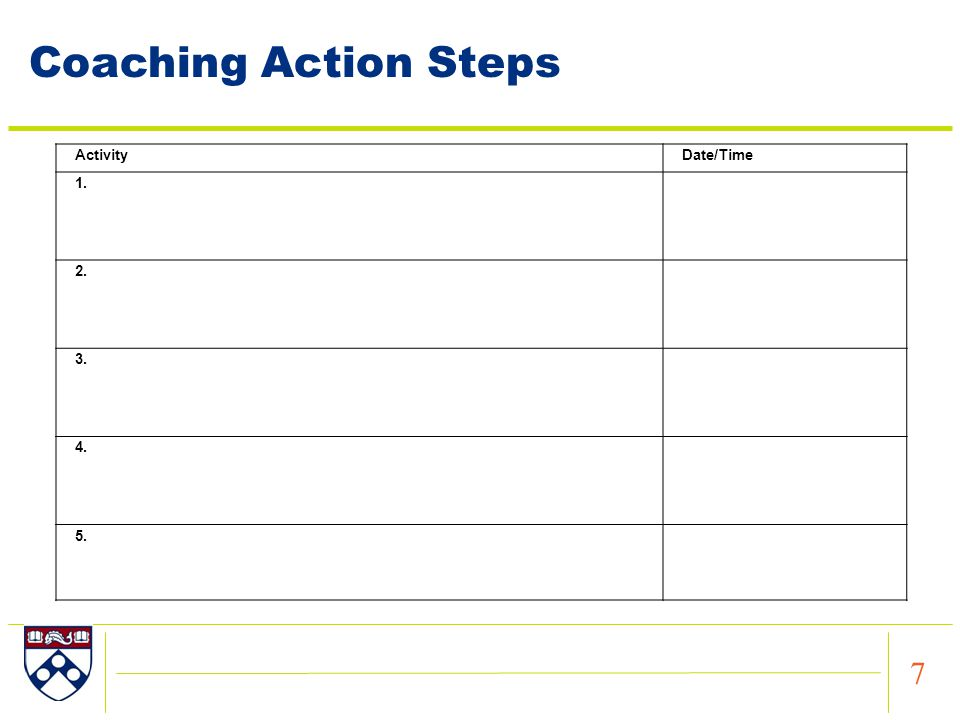 7 ActivityDate/Time 1. 2. 3. 4. 5. Coaching Action Steps