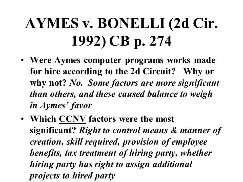 AYMES v. BONELLI (2d Cir. 1992) CB p.